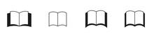 Conjunto De Iconos De Libro. Concepto De Escritura, Obra. Ilustración Vectorial Aislado En Fondo Blanco