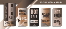 5 Set Social Media Network Sales Banner Backgrounds, Mobile App, Poster, Flyer, Coupon,Advertisement, Smartphone Template Story, Abstract Liquid Modern Shapes. Editable Template Eps 10 Vector.