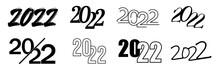 Set Of 2022 Happy New Year. 2022 Number Design Template. Vector Symbols Isolated On White Background