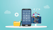 React Native Mobile Apps Development Concept With Modern Flat Style