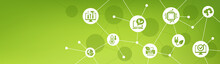 Green Computing Vector Illustration. Banner With Icons Related To Sustainable IT, Resource & Energy Saving, Environmentally Friendly Information Technology, Reusing & Upgrading Computer Hardware.