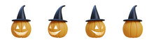 3D Pumpkin With Scary Face For Halloween Event And Black Witch Hat. 3D Rendering And Illustration.