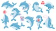 Dolphins with balls. Cute cartoon blue dolphin character play, jump through hoop and draw. Marine animal dolphinarium performance vector set