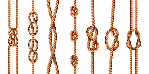 Nautical knots. Realistic ropes with sailor or scout knot types. Tied marine jute cords with loops. Bended cartoon hemp threads vector set