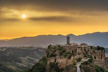 Civita Di Bagnoregio, Panoramic View At Dawn. Archive Photo.Civita Di Bagnoregio, Europe, Italy, Lazio.