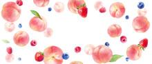 ジューシーな桃とベリーの水彩イラスト。フレーム背景デザイン。横長サイズ。