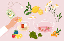 Tea Party Concept. The Girl Holds A Slice Of Lemon In Her Hand And Adds It To A Cup Of Tea. Afternoon Tea Time. A Healthy Drink Made From Herbs, Berries And Fruits. Cartoon Flat Vector Illustration