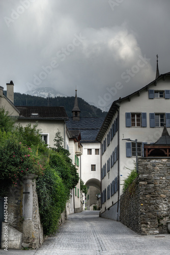 Fényképezés View in the Alte Simplonstrasse, a beautiful street in the old Swiss city brig,