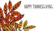 Happy Thanksgiving Hand Drawn Banner With Autumn Leaves. Doodle Art Vector Illustration. Flat Handwriting, Fall Season Design Elements, Phrases, Quotes.  Lettering For Branding, Marketing, Copy Space