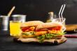 Chicken sandwich. Chicken burger with vegetables.