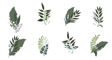 Abstract Prints With Plant Leaves. Pastel Colors. Vector Illustration.
