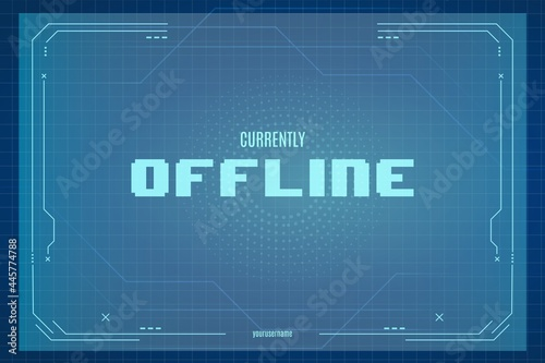 Fotografie, Obraz currently offline twitch background with abstract technology background template