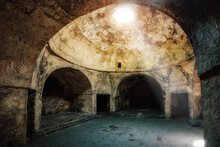 Under Dome Of Old Abandoned Building In Oriental Style