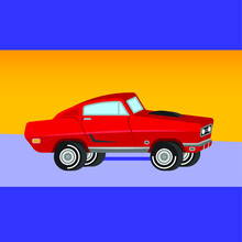 Car On A Blue Background