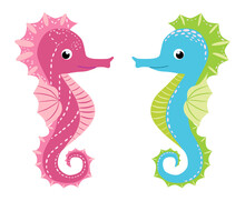 Pair Of Seahorses, Scandinavian Style Hippocampus, Hand Drawn, Pink And Turquoise, Boy And Girl, Love