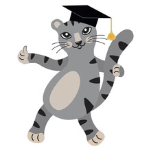 Cute Gray Cartoon Kitten In Graduation Hat Shows Thumbs Up. The Smart Cat Is Ready To Learn. Back To School. Educational Mascot. Isolated Vector. Cat Character Design As Postcard, Banner, Poster.