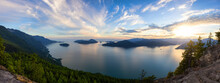 Tunnel Bluffs Hike, In Howe Sound, North Of Vancouver, British Columbia, Canada. Panoramic Canadian Mountain Landscape View From The Peak During Sunny Summer Sunset.