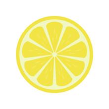 Lemon In Half Illustration Icon Vector, Fruit Illustration