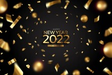 New Year 2022 Background With Confetti Golden Balls Design Vector Illustration