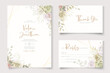 Beautiful soft floral and leaves wedding invitation card design