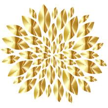 Golden Flower Shape Burst Decorative Vector Illustration