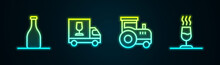 Set Line Bottle Of Wine, Wine Truck, Tractor And Tasting, Degustation. Glowing Neon Icon. Vector