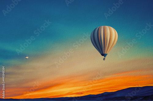 Obraz na plátně hot air balloon over sunset