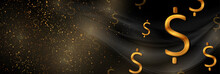 Black And Luxury Golden Wavy Abstract Background With Dollar Signs. Vector Banner Design