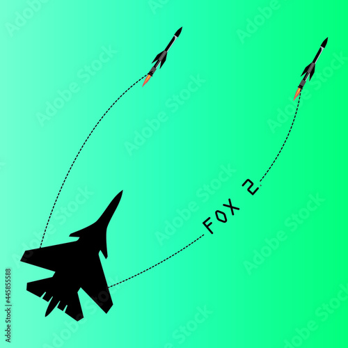Tela An illustration of a  fighter aircraft launching two IR missiles back to back and the word 'Fox 2' is Written along the path of the missile