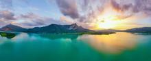 Salzkammergut Mondsee Und Drachenwand Panorama Während Eines Wunderschönen Sonnenunterganges