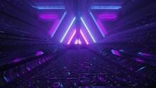 Triangle Shaped Futuristic Passage With Neon Lights 4K UHD 3d Illustration