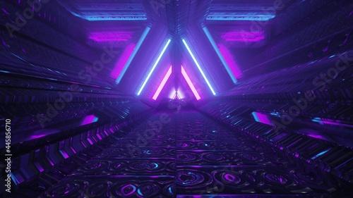 Fotografija Triangle shaped futuristic passage with neon lights 4K UHD 3d illustration