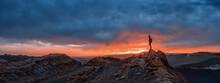 Tourist Watching The Sunset At The Valle De La Luna, Atacama Desert, Chile