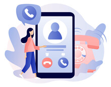 Phone Call Concept. Tiny Girl Receive Incoming Call In Smartphone App. Accept Button, Decline Button. Communication Device. Modern Flat Cartoon Style. Vector Illustration On White Background