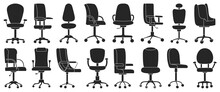 Office Chair Isolated Black Icon.Vector Illustration Interior Furniture On White Background . Vector Black Set Icon Office Chair.