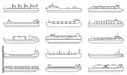 Fotografia Barge vector outline set icon