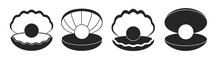 Pearl In Seashell Isolated Black Set Icon. Vector Illustration Jewelry Ball On White Background. Vector Black Set Icon Pearl In Seashell .