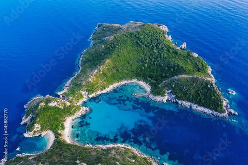 Fotografie, Obraz Aerial view of Porto Timoni beach (Pirate Bay) in Corfu, Greece