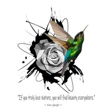 Hummingbird Illustration With Low Polygon Isolated On Rose Flower Background And Van Gogh's Quotes. Modern Geometric Design.