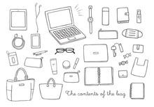 バッグの中身にまつわる手描きイラスト(モノクロ)