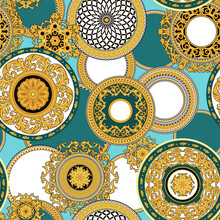 Seamless Vintage Pattern With Golden Decorative Rosettes
