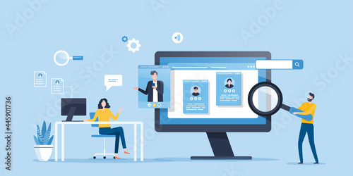 flat illustration business team research people Profile for job hiring and online interview with video conference meeting concept