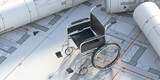 Wheelchair on construction drawings background. 3d illustration