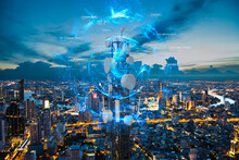 Telecommunication Tower With 5G Cellular Network Antenna On Night City Background, Global Connection And Internet Network Concept