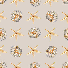 Seamless Pattern With Watercolor Shell, Repeat Sea Texture, Background Hand Drawing. Perfectly For Wrapping Paper, Wallpaper, Fabric, Texture And Other Printing.