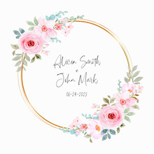 Watercolor Pink Floral Wreath With Golden Circle