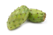 Prickly Pears Or Opuntia Fruits On White Background