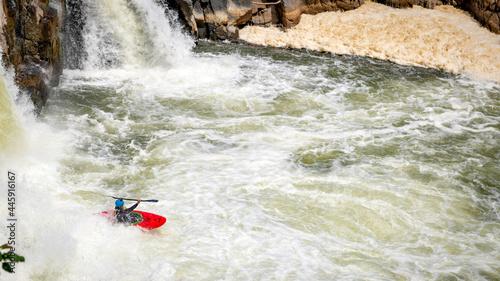 Fotografie, Obraz Kayak recoverees in white water in the Potomac River