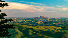 Steptoe Butte In The Palouse Towering Above Other Rolling Hills