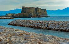 View Of Borgo Marinari And Castel Dell Ovo, A Seaside Castle In Naples, Italy
